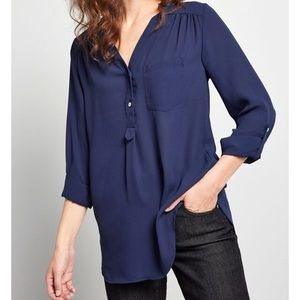 ModCloth Pam Breeze-ly Blouse in Navy 3X